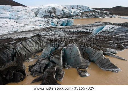Icelandic glacier - Vatnajokull - stock photo