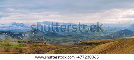 Icelandic landscape - panoramic view  on  amazing  mountains at the Laugavegur hiking trail near Alftavatn in Iceland
