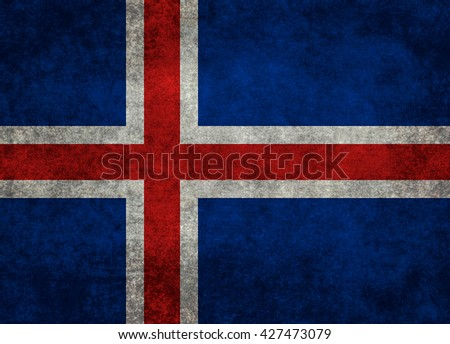 Icelandic national flag with a grungy textured treatment - stock photo