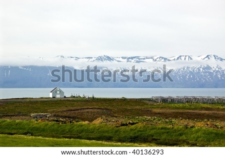 Icelandic rural landscape on the edge of Husavik in the north-east of the country - stock photo