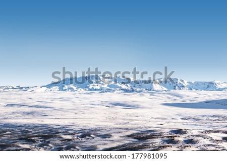Icelandic snow desert landscape - stock photo