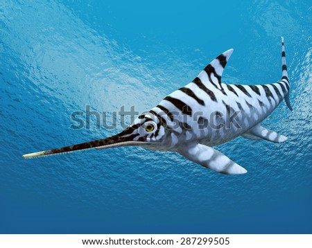 Ichthyosaur Eurhinosaurus Computer generated 3D illustration - stock photo