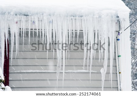Icicles after  snow storms in Boston, 2015 - stock photo