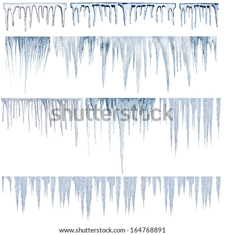 icicles catalog of diferent and real type - stock photo