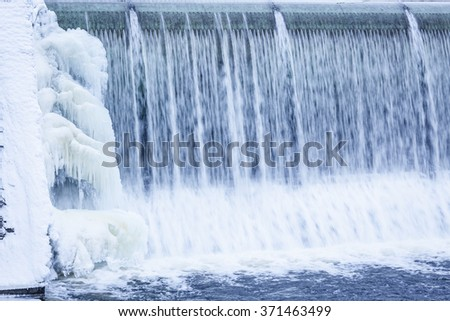 Icicles formation in waterfall