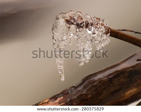 Icicles hang on twigs and icy bark above rapid stream. Reflections of head lamp in icicles. - stock photo