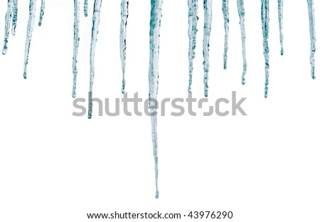 Icicles isolate on a white background 1 - stock photo