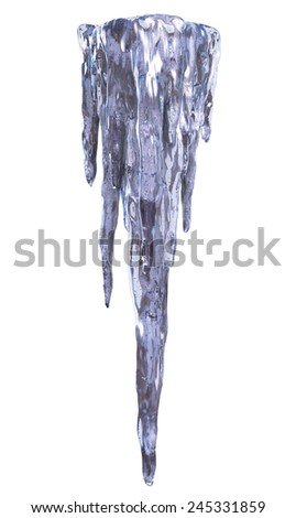 Icicles isolated. Clipping path - stock photo