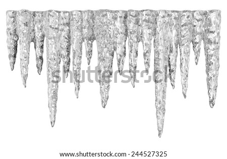 Icicles isolated on white - stock photo