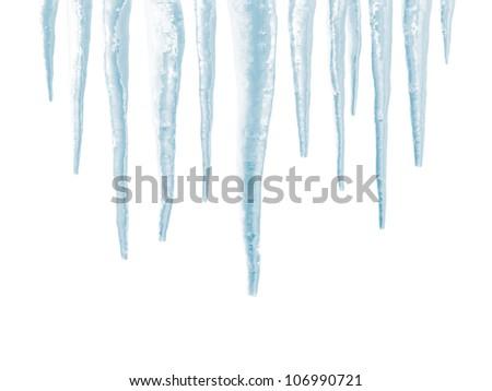 Icicles isolated on white background - stock photo