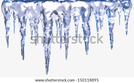Icicles Isolated with Clipping Path. Design Element - stock photo