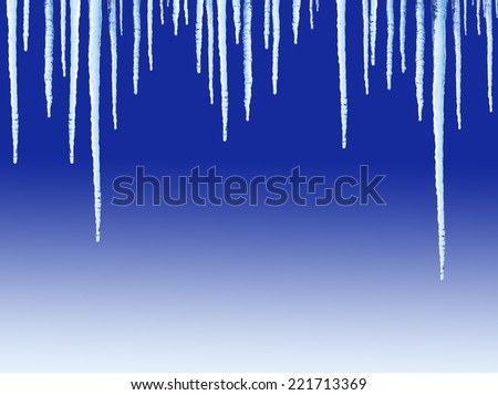 Icicles on blue background - stock photo