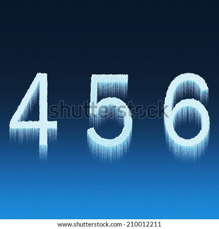 Icing alphabet digit number 4 5 6 four, five, six isolated on blue background - stock photo