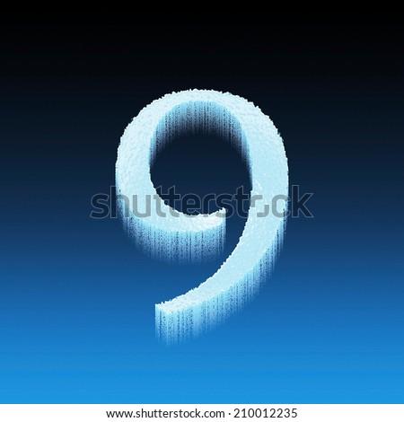 Icing alphabet digit number 9 nine isolated on blue background - stock photo