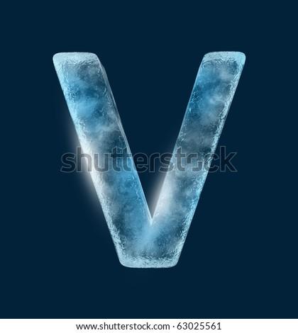 Icing alphabet the letter V - stock photo