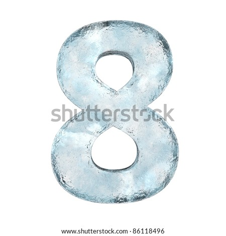Icing alphabet the number 8 (High definition isolated on white) - stock photo