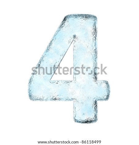 Icing alphabet the number 4 (High definition isolated on white) - stock photo