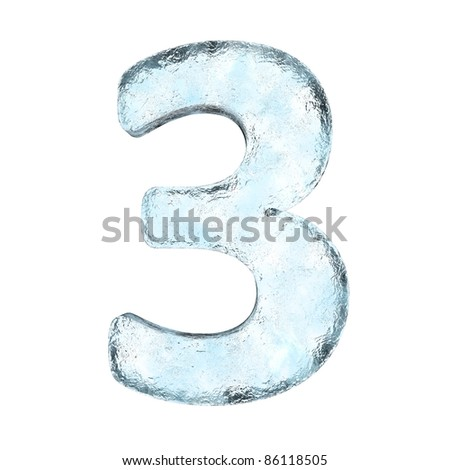 Icing alphabet the number 3 (High definition isolated on white) - stock photo
