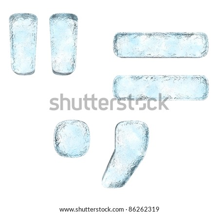 Icing alphabet the signs (High definition isolated on white) - stock photo
