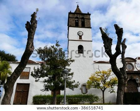 Icod de Los Vinos,church San Marcos,Tenerife island - stock photo