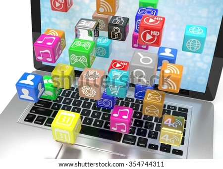 icon app fall in laptop - stock photo