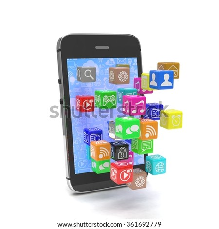 icon app fall in smart phone - stock photo