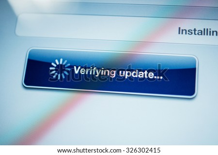 Icon banner - verifying update text message on digital tablet screen - stock photo