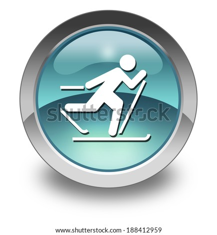 Icon, Button, Pictogram with Cross-Country Skiing symbol - stock photo