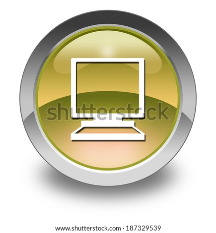 Icon, Button, Pictogram with Desktop Computer symbol - stock photo