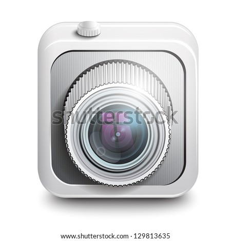 Icon camera , white background.