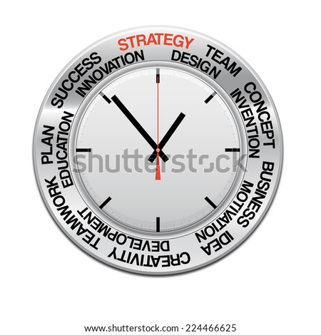 icon clock , red arrow specifies in a word strategy,  for Your successful business design or presentation
