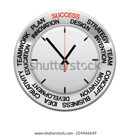 icon clock , red arrow specifies in a word success,  for Your successful business design or presentation