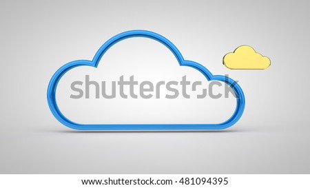 Icon cloud storage, frame blue and golden cloud on a white background image, 3d rendering;
