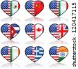 Icon collection showing the flag of the United States in a divided heart sharing it with other nationalities that have a significant number of immigrants in the country - stock photo
