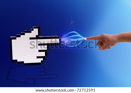 Icon computer cursor and human hand in electrical comunication on gradient blue background. - stock photo