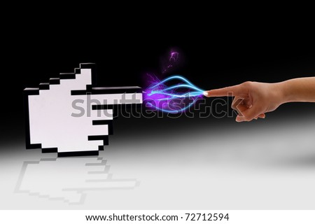 Icon computer cursor and human hand in electrical comunication over gradient black background. - stock photo