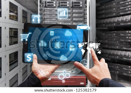 icon control system in server room - stock photo