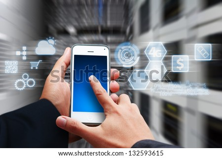 icon control the system from smart phone - stock photo