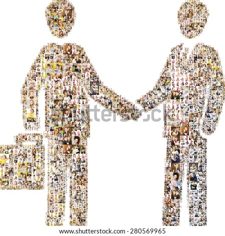 Icon deal. Formed out of a lot people's portrait photography. - stock photo