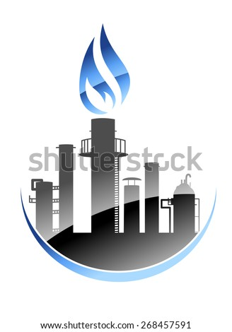 Icon depicting a modern oil refinery or industrial plant with tall smokestacks or chimneys with the central one emitting a burning flame - stock photo