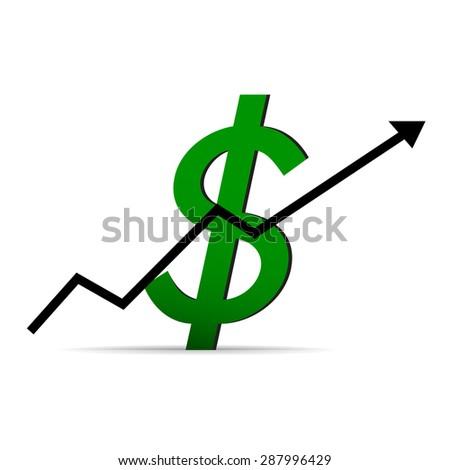 Icon dollar on a white background, arrow up - stock photo