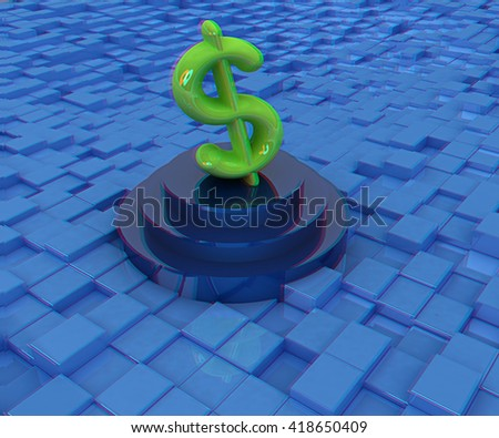 icon dollar sign on podium against abstract urban background. 3D illustration. Anaglyph. View with red/cyan glasses to see in 3D. - stock photo