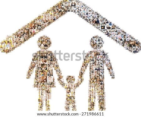 Icon family standing together under the roof of the house - stock photo