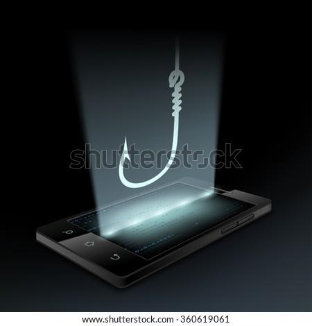 Icon fishhook on the smartphone screen. Hologram. Stock illustration. - stock photo