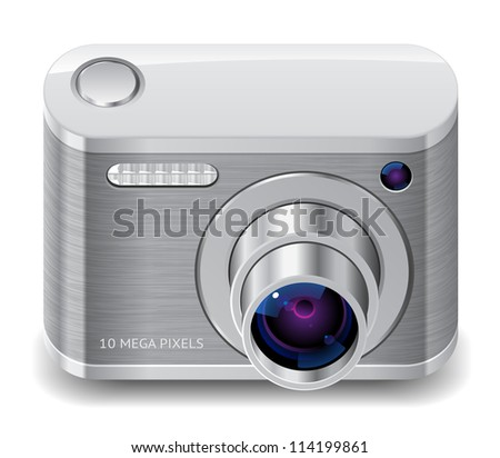 Icon for compact camera. White background. Raster version. Vector version is also available.