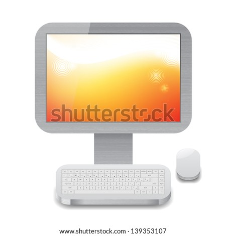 Icon for personal computer with orange wallpaper on display. White background.