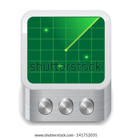 Icon for radar. White background. Raster version. Vector version is also available. - stock photo