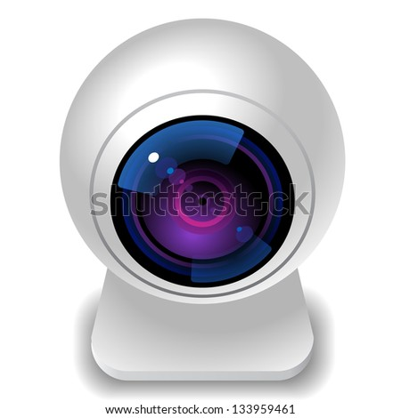 Icon for webcam. White background. Raster version. Vector version is also available. - stock photo