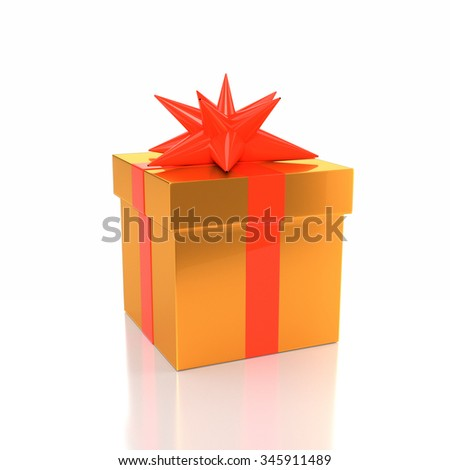 Icon gift yellow box with a bow on a white background. 3d illustration. - stock photo