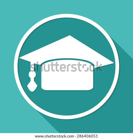 Icon Graduation cap on white circle with a long shadow - stock photo